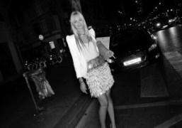Virginie Courtin-Clarins outside the Spring / Summer2012 Mugler show, Paris. Photo Olivier…