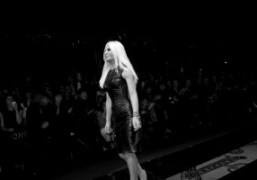 Donatella Versace at the end of the Versace F/W 2012 show, Milan….