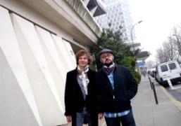 Mathias Augustyniak and Michael Amzalagafter theBalenciaga F/W 2012 Show, Paris. Photo Olivier…