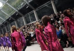 The finale of the Burberry Prorsum S/S 2013 show at Kensington Gardens,...