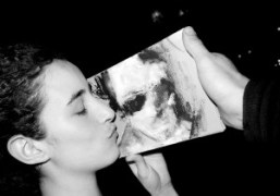 Miltos Manetas's girlfriend Catalina with Miltos' portrait of me, at the bar…