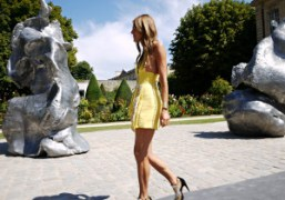 Anna Dello Russo walking outside the Musee Rodin after the Dior Couture…