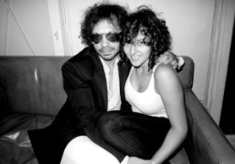 Olivier Zahm wearing a BLK DNM jacket with Amirah Kfrom BLK DNMat…