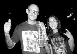 Terry Richardsonand Audrey Gelmanoutside Omen after the Slayer concert, New York.Photo Olivier…