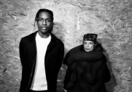 A$AP Rocky and Michele Lamy backstage at the Raf Simons Mens F/W15…
