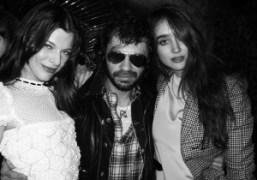 Milla Jovovich, Olivier Zahm and Natacha Ramsay at the new Montana, Paris.