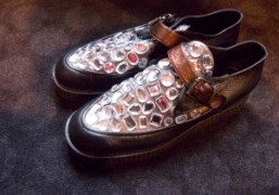 Crystal and leather creepers for Sonia Rykiel women's F/W 09/10, Paris. Photo…