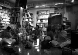 Mark Borthwick performing at his book signing last weekend, Brooklyn. Photo Tamara
