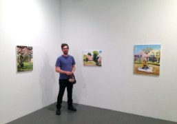 Daniel Heidkampat the opening of his exhibition at White Columns, New York….