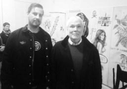 Glenn O'Brien with Wes Lang at his opening at Half Gallery, New…