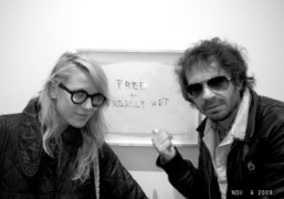 Aurel Schmidt and Olivier Zahm at the Tracey Emin show Only God…