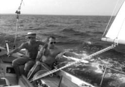 André Saraiva and Paul Sevigny on Paul's sailing boat Heartbreakers, Long Island….