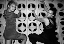 Annabelle Dexter-Jones and Liv Tyler climbing the decorative wall at Le Bain,…