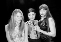 Anna Dello Russo, Giovanna Battaglia, and Betony Vernon backstage at the Givenchy…