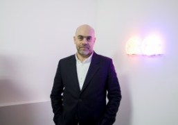 French artist Laurent Grasso at the signing of his new book Soleil...