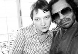 """The stylist Lotta Volkova and Olivier Zahm at the Wendy Jim """"EXI(S)T""""..."""