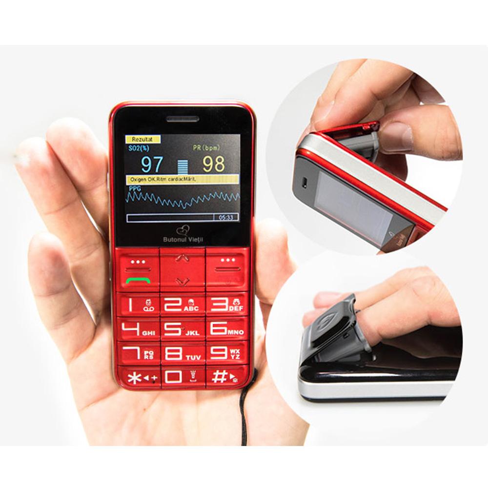 Telefon Senior Butonul Vietii + Abonament SOS 12 Luni Rosu