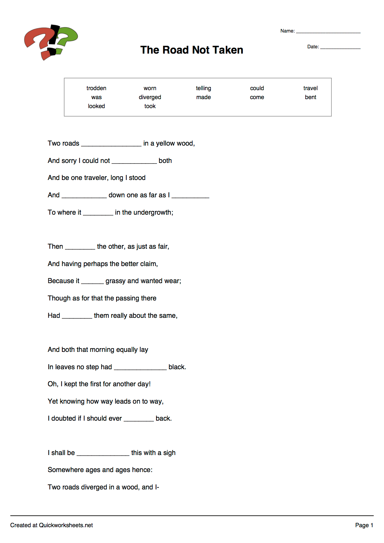 Fill In The Blanks Passage Cloze Test Worksheet Maker