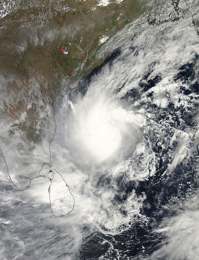 GIANT STORM. NASA's Aqua satellite captured this visible image of a well-rounded Tropical Cyclone Mahasen in the Northern Indian Ocean on May 15 at 07:55 UTC (3:55 a.m. EDT). Mahasen is northeast of Sri Lanka and moving northward. NASA Goddard MODIS Rapid Response Team