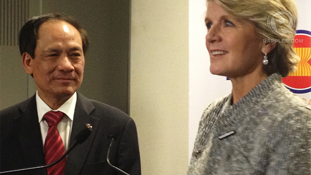 40 YEARS. ASEAN Sec Gen Le Luong Minh with Australian Foreign Minister Julie Bishop