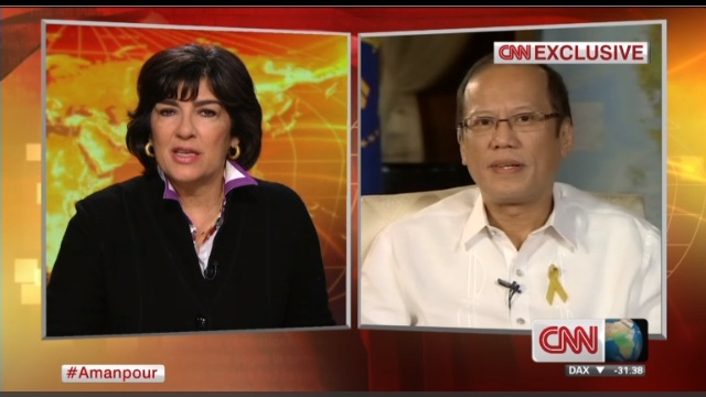 RESPONSE PROBLEMS. President Benigno Aquino III (R) in an interview with CNN's Christiane Amanpour (L), aired Nov 13, 2013. Frame grab courtesy of CNN