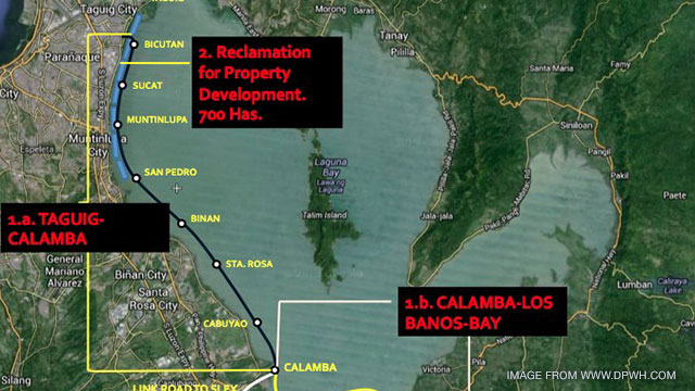 Map of the Laguna Lakeshore Expressway Dike Project. Image from dpwh.gov.ph