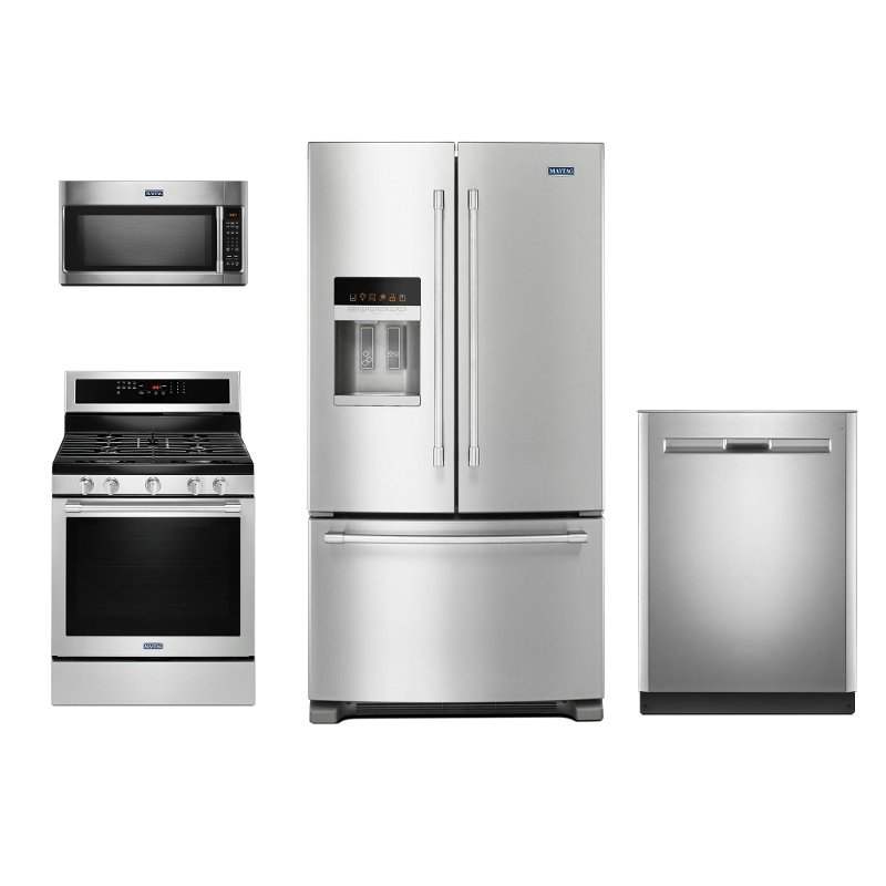 Maytag 4 Piece Kitchen Appliance Package With Gas Range Stainless Steel RC Willey Furniture