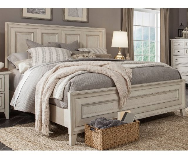 Weathered White King Size Bed Raelynn