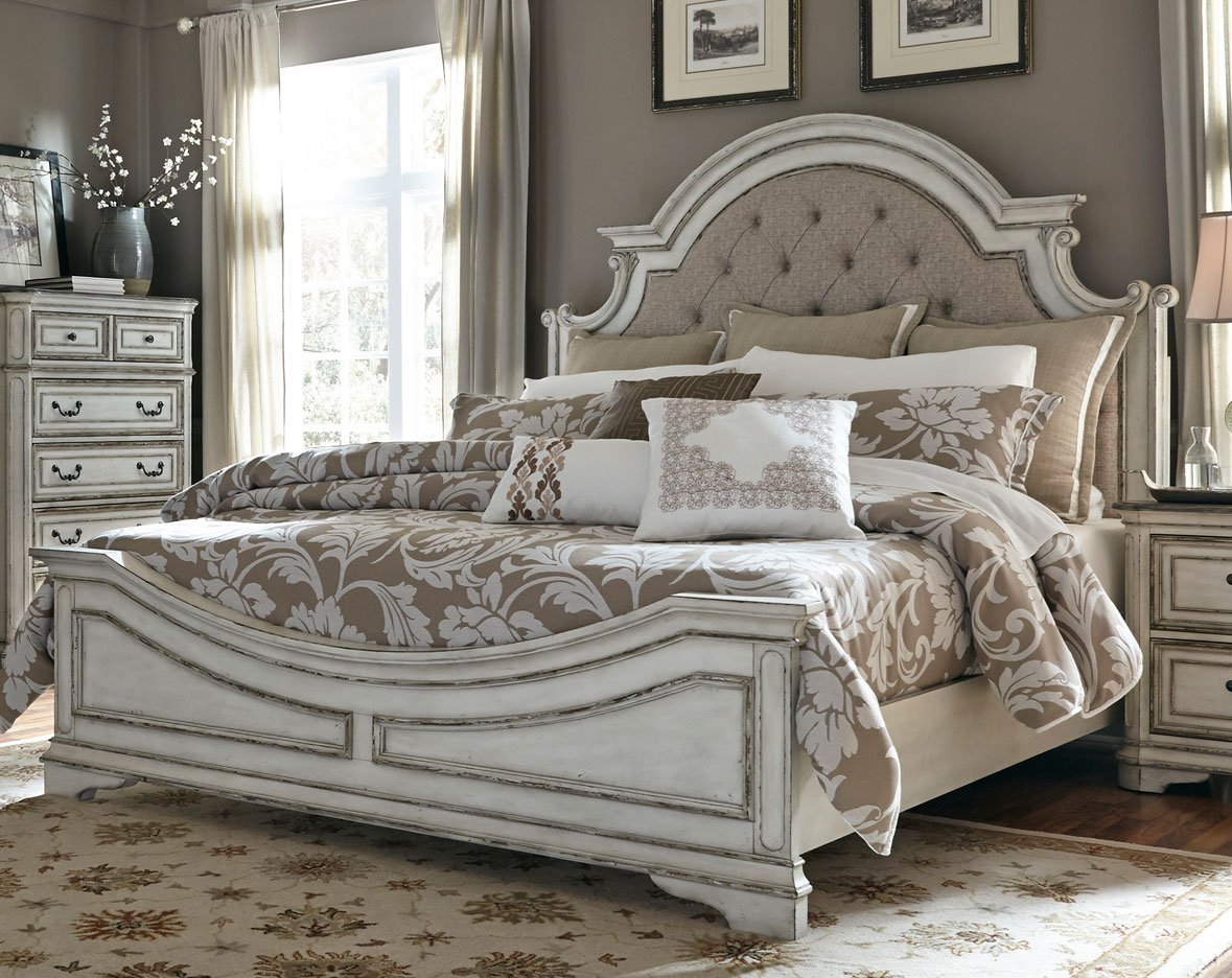 Antique White Traditional 6 Piece King Bedroom Set