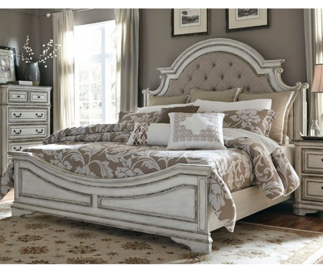 Antique White Traditional Upholstered King Size Bed Magnolia Manor Rc Willey Furniture Store
