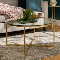 glass top 36 inch round coffee table with gold base