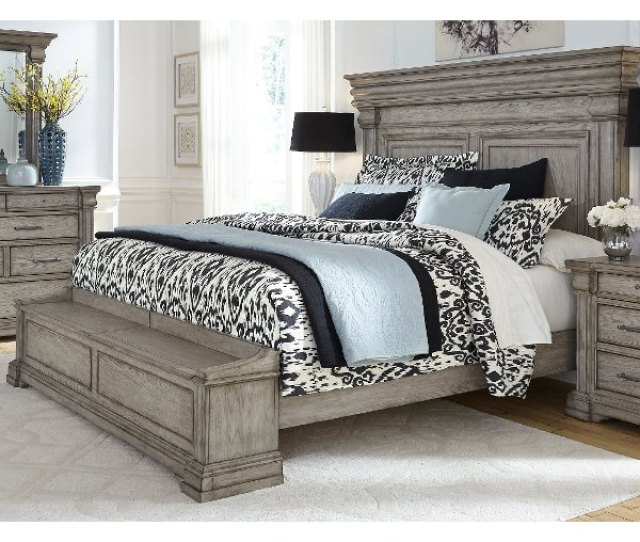Classic Traditional Gray King Storage Bed Madison Ridge