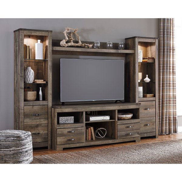 natural brown 4 piece rustic entertainment center trinell