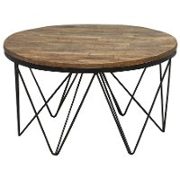reclaimed wood round coffee table with hairpin metal legs aubrey