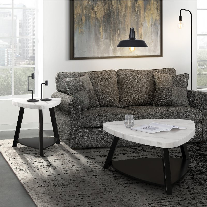 Modern White Marble Coffee Table Trinity Rc Willey Furniture Store
