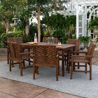 7 piece dark brown traditional patio dining set