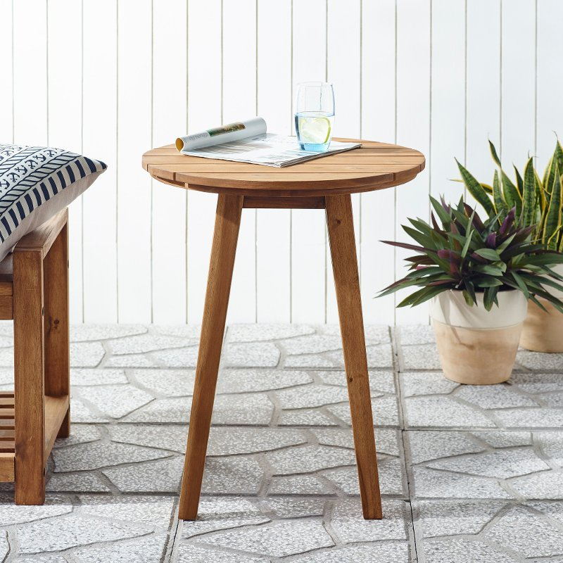 medium brown round patio side table rc willey furniture store