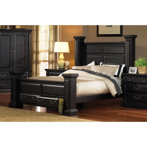 Classic Black 6 Piece Queen Bedroom Set - Torreon | RC ...