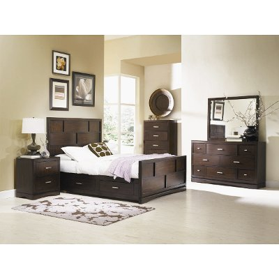 pecan brown 7-piece queen bedroom set - key west | rc willey