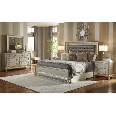 Champagne 6 Piece Queen Bedroom Set Diva