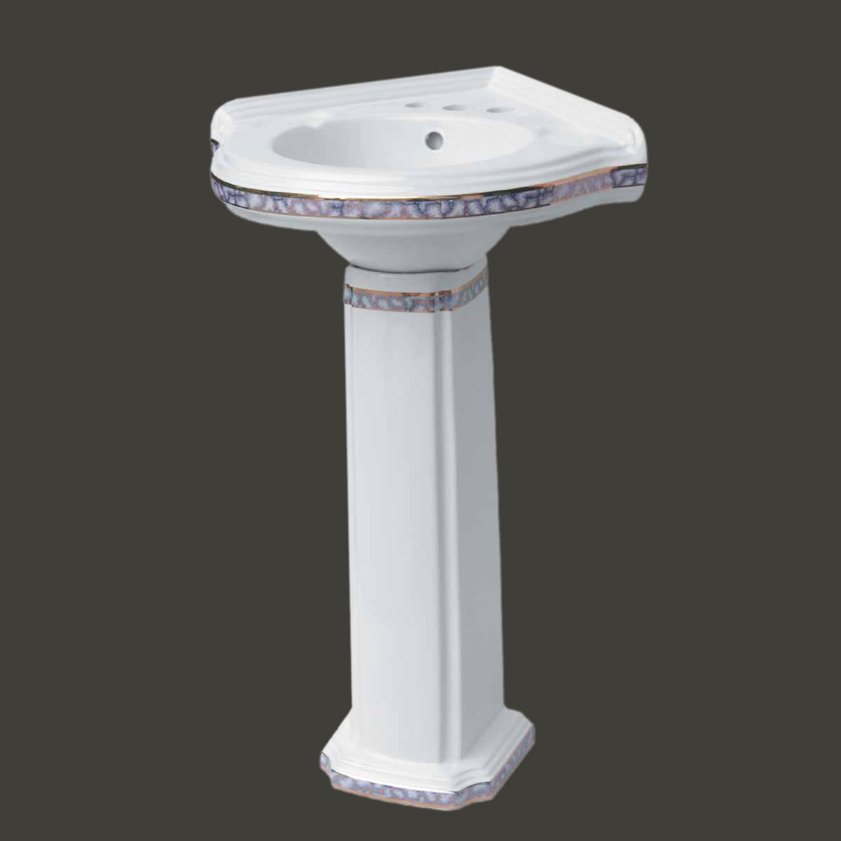 Bathroom Corner Pedestal Sink White China Gold Trim