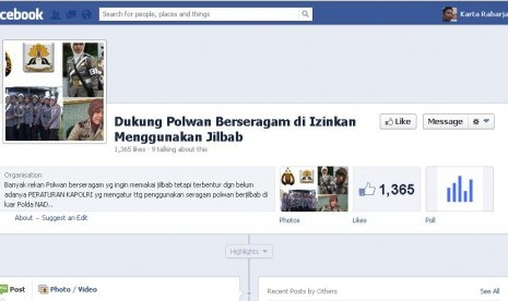 Facebook 'Dukung Polwan Berseragam di Izinkan Berjilbab'
