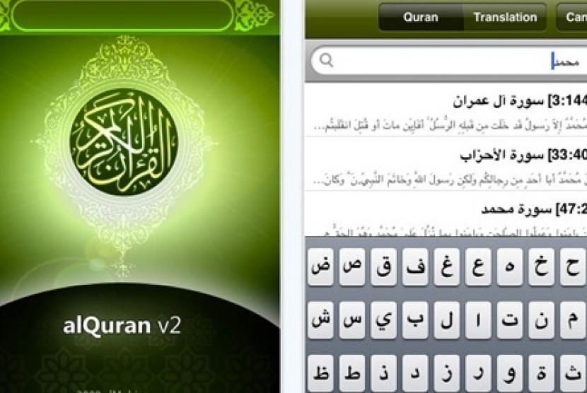 Aplikasi Alquran di telepon seluler (ilustrasi).