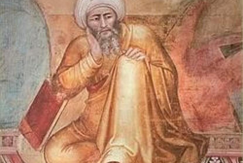 Ibnu Rusyd atau Averroes, dari detail lukisan Triunfo de Santo Tomás, karya artis Florence abad ke-14 Andrea Bonaiuto.