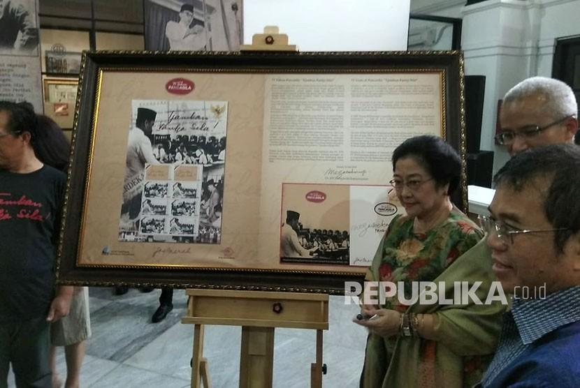 Ketua Dewan Pengarah BPIP Megawati Soekarnoputri Saat Menghadiri Peringatan HUT Pancasila Ke 73 Di Museum Filateli Sawah Besar Jakarta Pusat