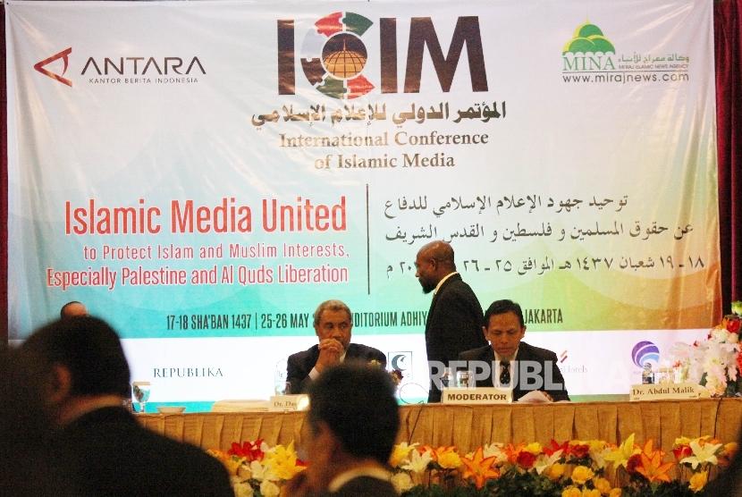 Konferensi Internasional Media Islam ( International Conference of Islamic Media-ICIM) di Jakarta, Rabu (25/5). (Republika/Rakhmawaty la'lang)