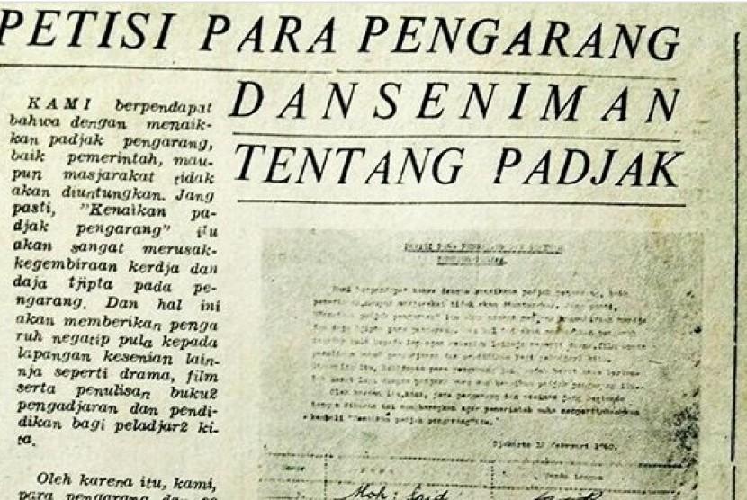 Petisi pengarang dan seniman tentang pajak.