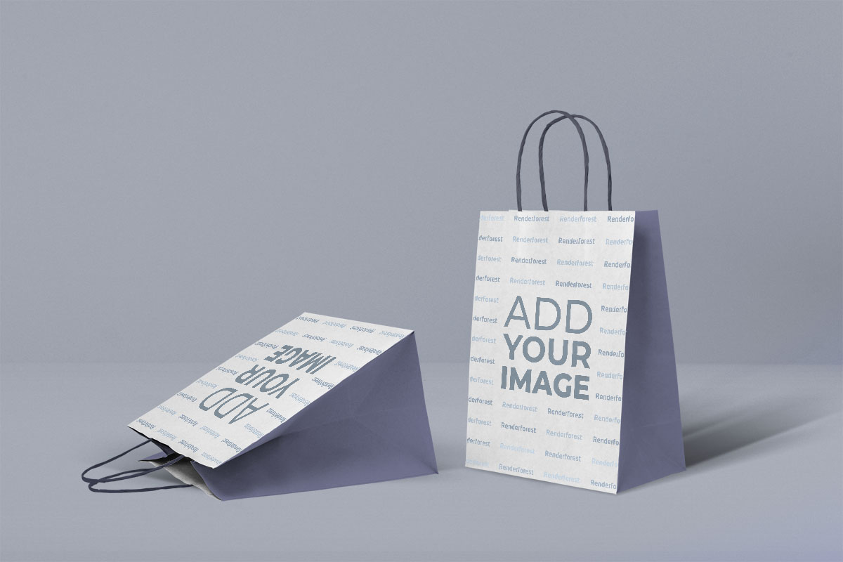 A paper bag mockup file with changeable colors and backgrounds. Clean Paper Bag Mockups Renderforest