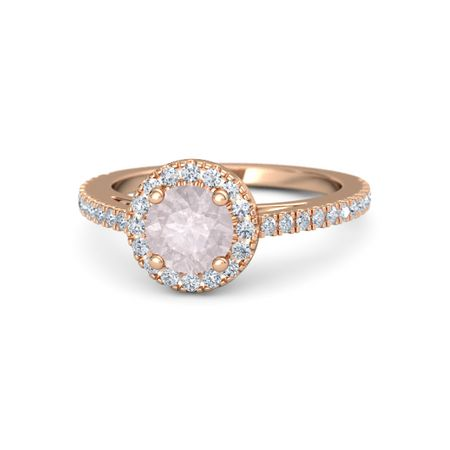Matilda Ring 6mm Gem Round Rose Quartz 14k Rose Gold Ring With Diamond