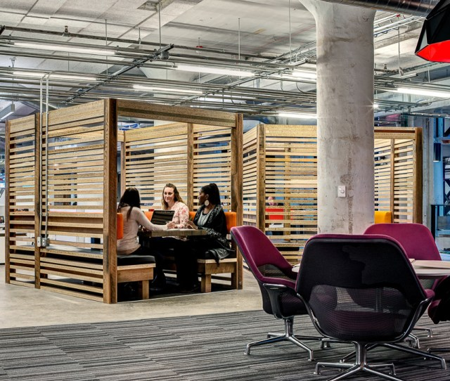 Group Of Wooden Box Breakout Tables In Lowe Campbells Office